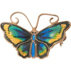 Gorgeous small David Anderson sterling Norway enamel butterfly brooch is in…
