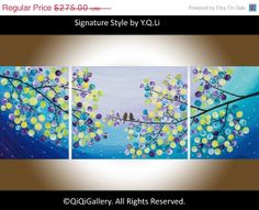 44Contemporary Landscape acrylic painting Tree Love by QiQiGallery, $192.50