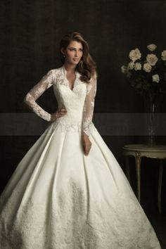 Spectacular Wedding Dress with Illusion V-neckline