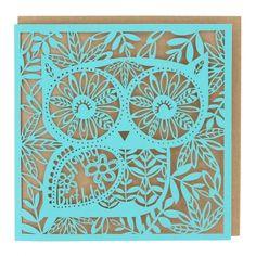 Owl laser-cut birthday card