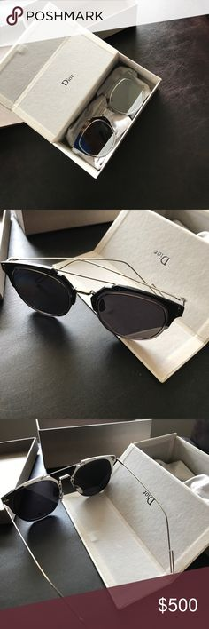 Authentic DIOR HOMME sunglasses Authentic Dior sunglasses 😎 they are silver if you can't tell from the pictures. Comes with original box. Feel free to make offers Christian Dior Accessories Glasses