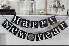 black and white square shaped new year banner