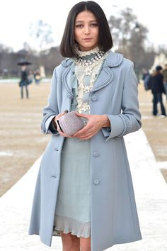 love HER style ....pale pastels exude a romantic flair outside of the Valentino sho