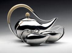 Tea service c. 1948 Svend Weihrauch (1899–1962) for Frantz Hingelberg Silversmithy Aarhus, Denmark sterling silver, ivory, ebony base