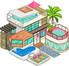 Contemporary beach house, vacation favorite of selfie-lovers in Eden Isle: Resort Paradise. Would you vacation here or would you choose a hotel? Find out more at www.EdenIsleGame.com.