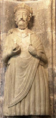 Statue of Charlemagne in the abbey church of Müstair, Graubünden, Switzerland .
