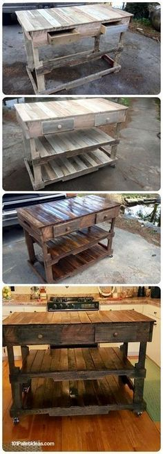 Pallets Wood Made Kitchen Island - 101 Pallet Ideas & Pallet Projects by Elizabeth Holloway Paletten Wooden Pallet Projects, Pallet Crafts, Pallet Ideas, Wood Ideas, Pallet Designs, Decor Ideas, Diy Ideas, Decorating Ideas, Pallet Furniture