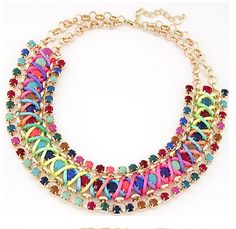 Colorful Beads Crystal Collar  New hot Beads  Retro by OnlyFinding
