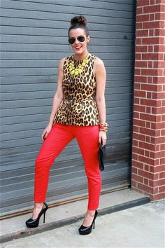 Red jeans, cheetah top
