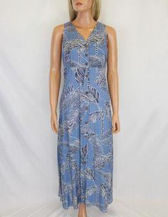 Island Blue Long Dress Tropical Tree Tops