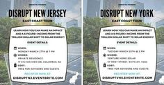 This is the last week of the East Coast Road to Disruption! Here is the schedule for the next 4 days.  Monday 3/27 @ 7 to 9 PM Powur Social Mixer Private Residence (Welsh Residence) 17 Sylvan View Drive Columbus NJ 08022  Tuesday 3/28 @ 2 to 4 PM Venture Home Solar 67 West St Suite 211 Brooklyn NY 11222  Wednesday 3/29 @ 3:30 to 5:30 PM Grid City Energy 375 Pearsall Ave Cedarhurst NY 11516  Wednesday 3/29 @ 6:30 to 9 PM Powur Social Mixer 1287 Allen Drive Seaford NY 11783 (private residence…