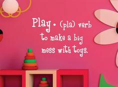 Childrens Wall Decal  Play Definition - Playroom Vinyl Wall Art - Childrens Playroom Decor. $16.00, via Etsy.