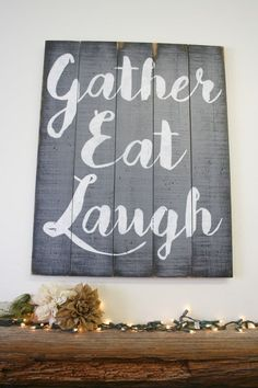 Beautiful statement piece for your dining area! This is a large wood pallet sign that measures 20 x 30.  The background color is Gray and words