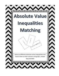 Absolute Value Inequalities Coloring Activity (includes