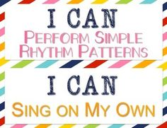 I Can Statements for music classroom K-5