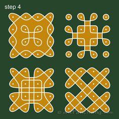 This page provides 4x4 Dot Rangoli Designs with title 4x4 Dot Rangoli 3 for Hindu festivals.