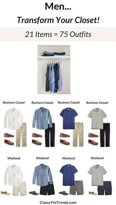 The Men's Capsule Wardrobe: Summer 2017 Collection! Men, get dressed quickly and look great, by turning 21 clothes and shoes into 75 outfit ideas. Includes a step-by-step guide to creating a men's capsule wardrobe, a packing guide, a checklist and more. Wives, transform your husband's closet and make his closet look as great as yours! Included are items such as a white oxford shirt, chambray shirt, blue shirt, gray polo, white polo, navy polo, navy tee, gray tee, jeans, cargo shorts, chinos…