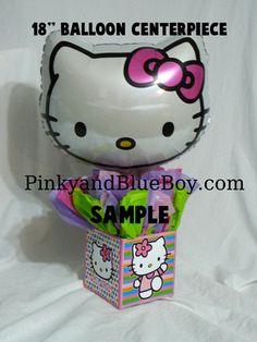 DIY  Hello Kitty Birthday Party Balloon Centerpieces , balloon holder via Etsy.