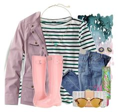 """""""It has been raining here every day this week"""" by flroasburn ❤ liked on Polyvore featuring J.Crew, L.L.Bean, Hunter, Lilly Pulitzer, Ray-Ban, Tory Burch, Kendra Scott and plus size clothing"""