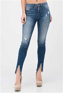 3cd8cf4c9af Sneak Peek Jeans Mid Rise Skinny Jeans with Slit Front Ankle in Dark Wash  for Women SP-P9847MD