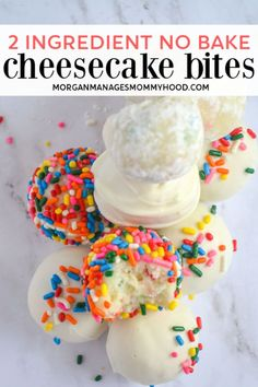 These no-bake 2 ingredient cake batter cheesecake bites are the perfect treat to make this summer to tame your sweet tooth and keep your house nice and cool! #cheesecakebites #nobakerecipe