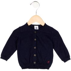 Pre-owned Petit Bateau Boys' Wool-Blend Rib Knit Cardigan (205 BRL) ❤ liked on Polyvore featuring blue