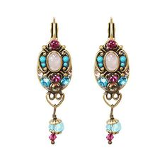 Michal Golan Pink And Blue Drop Earrings