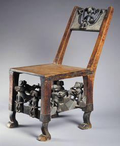 Chokwe  Tshikapa region, East Angola or Democratic Republic of the Congo Chair, early 20th century Wood and metal   Princeton University Art Museum
