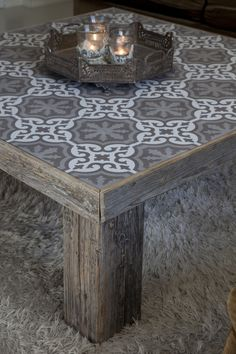 140 Gorgeous Outdoor Tables: The Rustic Style Tile Top Tables, Tiled Coffee Table, Outdoor Coffee Tables, Pallet Furniture, Furniture Makeover, Painted Furniture, Furniture Design, Rustic Furniture, Decoration Palette