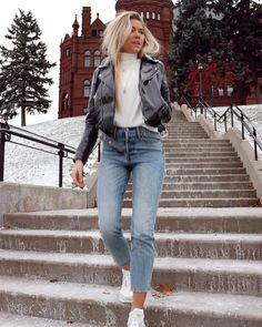 Classy And Trendy Winter Outfits You Need Now. 15 Trendy Autumn Street Style Outfits For This Year - fall outfits Mode Outfits, Casual Outfits, Black Outfits, Outfit With White Sneakers, Jean Outfits, Cap Outfits For Women, Outfits With Jeans, Black Ankle Boots Outfit, Uni Outfits