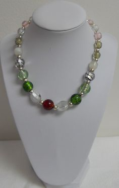 16  Assorted Lampworked Glass Beads Necklace by lanesamarie