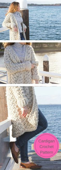 CROCHET PATTERN - Coastal Fog Chunky Cardigan- Sweat Crochet Pattern- Women's Clothing Crochet- Comfortable - Pattern is Available for Download After Purchase