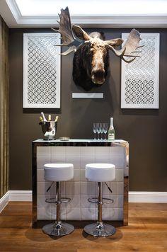 Small modern bar- minus the moose head