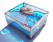 Music Boxes, Large, Stained Glass Box with Real Abalone Shell Inlay and Sankyo Musical Movements - Your Choice of Song