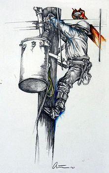...great artwork.... Lineman Wife, Power Lineman, Lineman Tattoo, Electrical Lineman, Army Tattoos, Cricut Monogram, Desenho Tattoo, Airbrush Art, Forearm Tattoo Men
