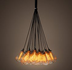 "Teardrop Glass Filament 19-Cord Chandelier - Aged Steel | Restoration Hardware | Special 8"" Cord Length $1025"