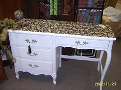 white desk with decoupaged top