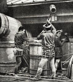 Coopers pounding woven bamboo strapping onto giant barrels, ca. 1898, Japan.  Photography by  by T.Enami