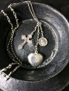 Vintage Silver Locket, Rosary Style Necklace by FribblePistol