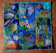 A Girl and Her Horse - Embroidered Batik Crazy Quilt