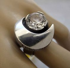 Sten & Laine, vintage sterling silver and rock crystal ring, 1974. #Finland | FinlandJewelry.com