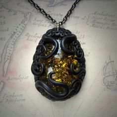 Tentacled Faux Amber Necklace