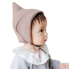 Nara Baby Kin Witches Hat Knitted Girls Boys Lace-Up Solid Color Baby  Bonnet Newborn. Good elasticity 464ef6e8c5c0