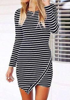Angled shot of model in striped asymmetric bodycon dress
