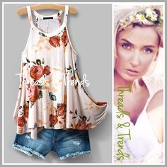 Razor Back Swing Tank Stunning  razor back swing tank. Featuring a blooming floral rose print. Made of Rayon. Size S, M, L Tops Tank Tops