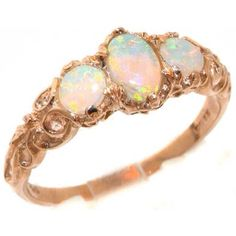 Womens Solid Rose Gold Natural Fiery Opal English Victorian Style Trilogy Ring Size 4 Finger Sizes 4 to 12 Available Suitable as an Anniversary ring, Engagement ring, Eternity ring, or Promise ring Victorian Engagement Rings, Rose Gold Engagement Ring, Victorian Ring, Engagement Bands, Opal Wedding Rings, Diamond Wedding Bands, Gold Gold, White Gold, Opals