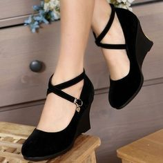ENMAYER Black Blue Red Hot 2014 new brand fashion sexy wedding wedge pumps and women's spring summer shoes(China (Mainland)) Dr Shoes, Me Too Shoes, Shoes Heels, Shoes Sneakers, Pretty Shoes, Cute Shoes, Ugg Boots Cheap, Summer Shoes, Girls Shoes