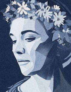 denim portre çiçek