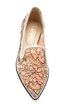 Lace Microsole Loafer In Orange by Nicholas Kirkwood for Preorder on Moda Operandi