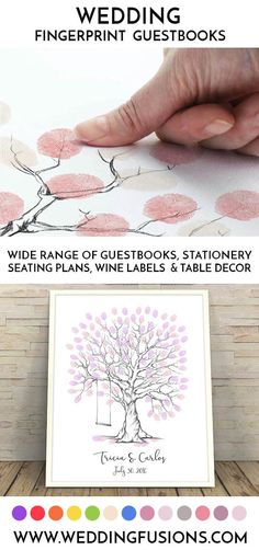A fingerprint wedding guestbook makes the perfect wedding keepsake, a unique memento to cherish forever and a beautiful piece of art for your home! Wedding Guest Book, Diy Wedding, Wedding Gifts, Wedding Ideas, Fingerprint Wedding, Thumbprint Tree, Food Wedding Favors, Wedding Keepsakes, Printable Designs